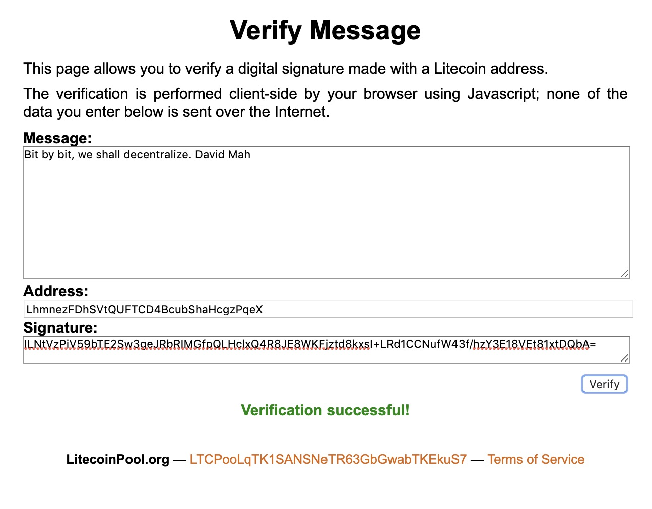 Verified Litecoin message