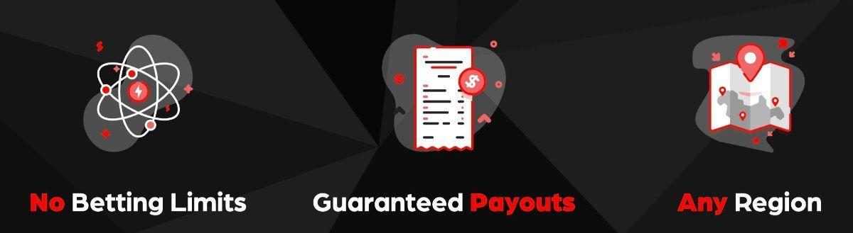 No betting limits, guaranteed payouts, any region